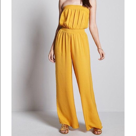 d02f82593b4 Forever 21 Pants - Wide leg strapless jumpsuit